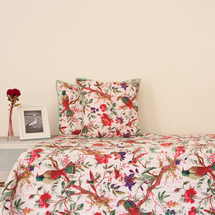 Single Reversible Birds Quilt / Bedspread Set | The Hues of India