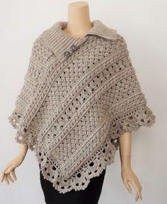 poncho al crochet on Pinterest   crochet poncho, ponchos and ...