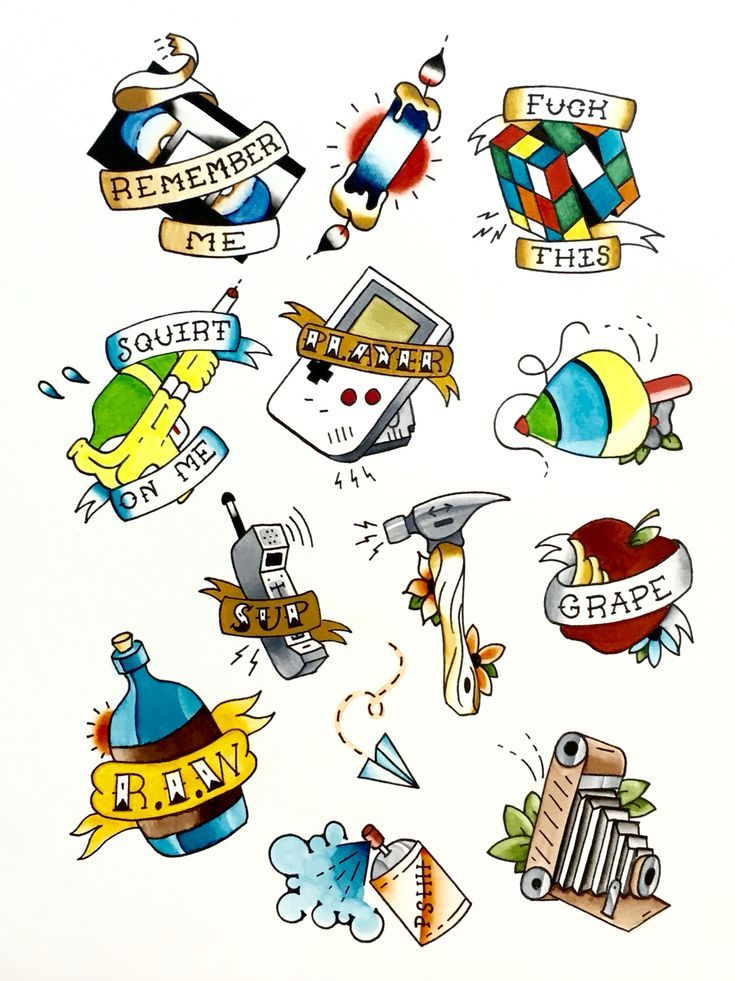 My First Color Traditional Ish Flash Sheet Tattoo Traditional Watercolor Uncategorized Tattoo Flash Sheet Small Tattoos Neck Tattoo