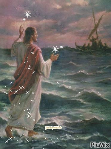 Jesus walks on water. During another storm the apostles are amazed and terrified to see Jesus walking on the water.