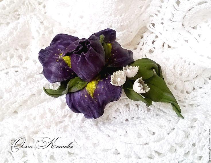 Купить Заколка автомат Фиолетовый ирис из кожи цветы для волос - фиолетовый, заколка для волос
