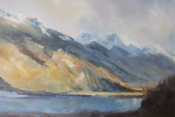 Mountains West Coast.   NZ art Pacific art impressionist