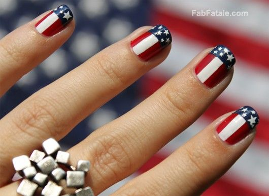 Fourth 4th Of July American Flag Nail Art Manicure