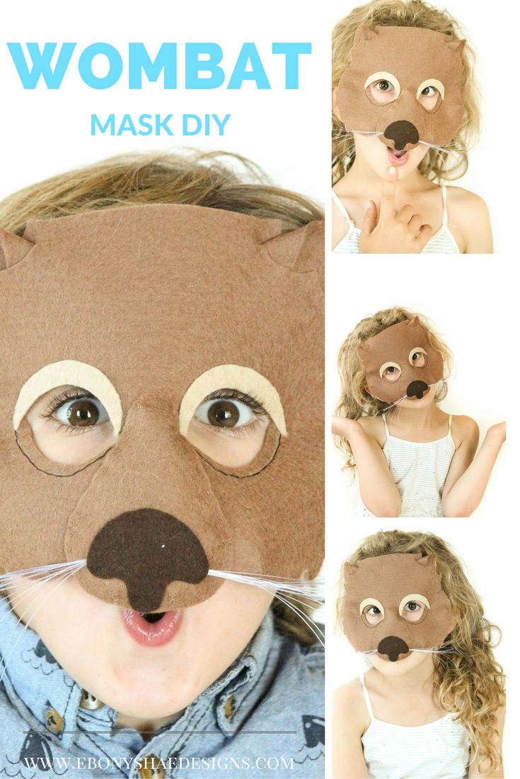 Make your own cute and fuzzy little wombat mask.  Add a brown jumper and you have a costume!  Easy.  Click through to grab your copy of the sewing pattern!