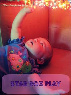 Fun and easy light play activity for infants and toddlers! Make a star box from recycled materials