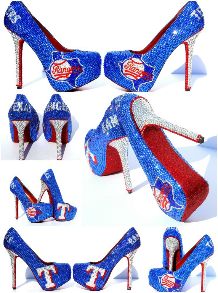 Texas Rangers Crystal Wedding Heels  Hand Painted and made with Swarovski Crystals  #Texas Rangers #Baseball Heels By Wicked Addiction