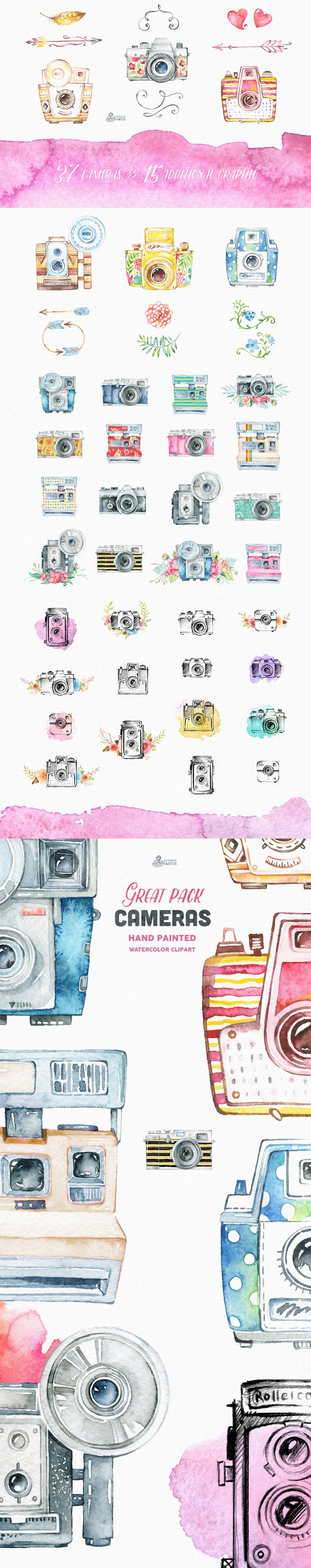Cameras Clipart// This set of 52 high quality hand painted watercolor cameras and additional elements (floral, arrows, feathers and more) in Hires. Perfect graphic for branding, invitations, greeting cards, photos, posters, inspirational quotes and more.