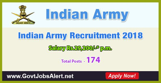 Indian Army Recruitment 2018 - Hiring 174 Post Material Assistant, Lower Division Clerk and other Posts, Salary Rs.29,200/- : Apply Now !!!  The Indian Army Recruitment 2018 has released an official employment notification inviting interested and eligible candidates to apply for the positions of Material Assistant, Lower Division Clerk, Fireman, Tradesman Mate MTS and Draughts man. The eligible candidates may apply to the posts in the prescribed format available in official