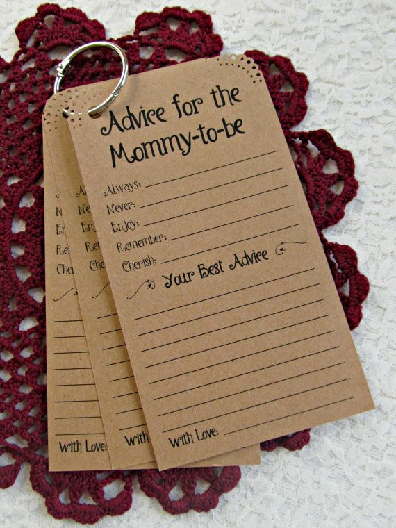 Set of 12 Baby Shower Advice Tags Cards for the Mommy to be - Advice for Mommy-to-be Kraft  Vintage Rustic