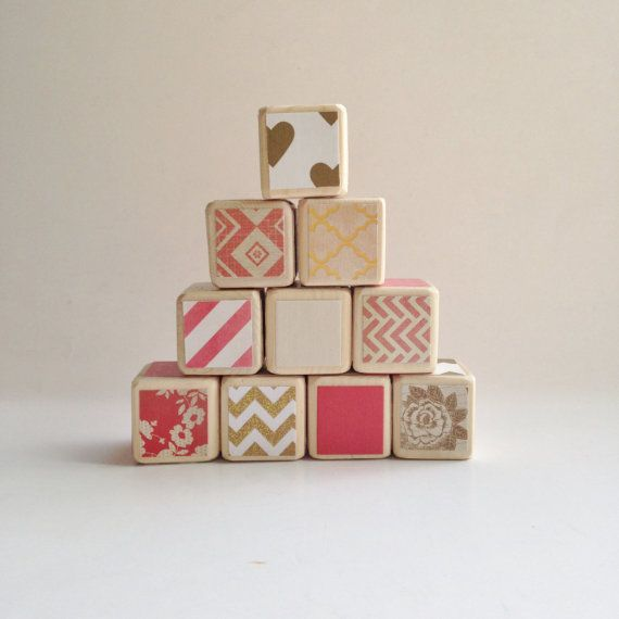 Coral / Salmon and Gold nursery decor. TOY. Wooden baby blocks. Elegant / Mod nursery decoration. Baby shower GIFT.