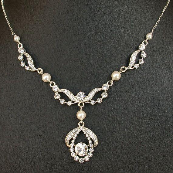 Vintage rhinestone and pearl bridal necklace.