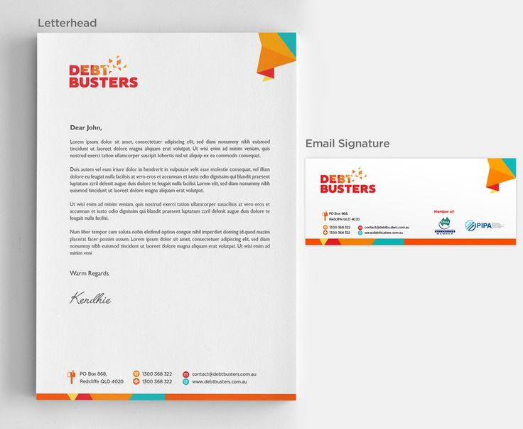 Create a digital letterhead and email signature for our rebranded company by kendhie