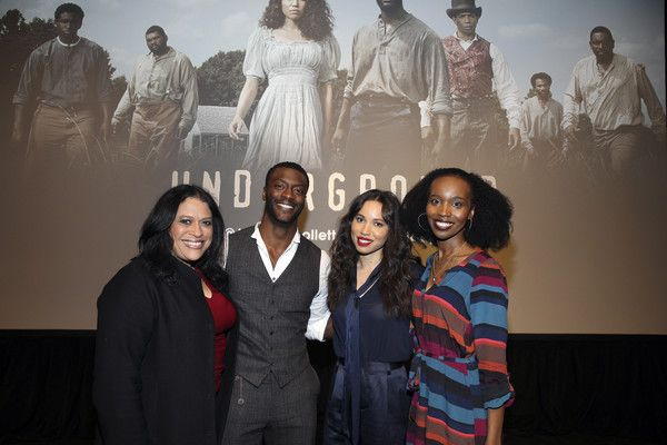 """Aldis Hodge Photos Photos - Perri L. Imer, Aldis Hodge, Jurnee Smollett-Bell and Aisha Jefferson attends the Chicago screening of WGN America's new series """"Underground"""" at The DuSable Museum of African American History on February 9, 2016 in Chicago, Illinois. - WGN America Chicago/DuSable Museum Screening of 'Underground'"""