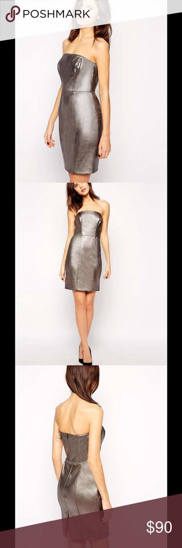 🆕 ❤️Warehouse silver bodycon dress❤️ NWT US(4)🌹 Strapless silver dress, UK(8) US(4) fits like XS 👗brand new✨ NEVER USED Warehouse Dresses Strapless