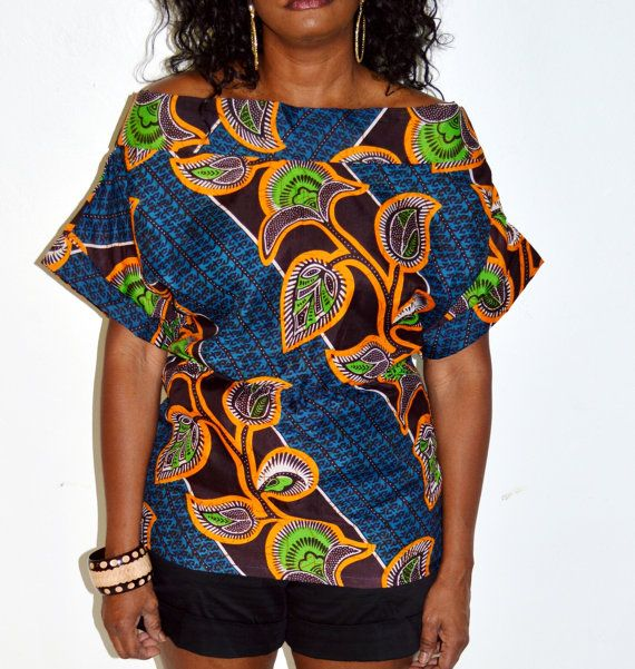 Blue And Orange African Ankara Print Blouse, African Print Blouse, Handmade Blouse