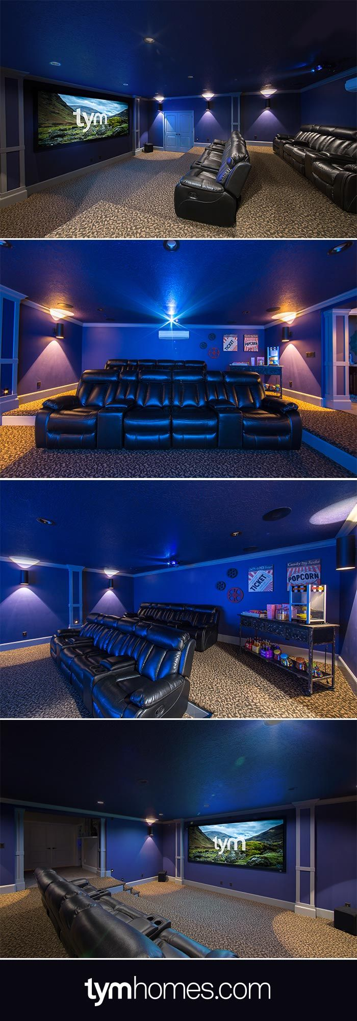 This Home Cinema was installed in a basement - under the garage. It features an anamorphic, acoustically transparent widescreen, Wolf Cinema projector, 7.1 surround sound system with Anthem A/V receiver and Paradigm speakers. A Savant SmartView video tiling system plays up to 9 video sources at the same time in variable configurations. The cinema is controlled by Savant. Learn more at TYMhomes.com. #HomeCinema #HomeTheater #MediaRoom
