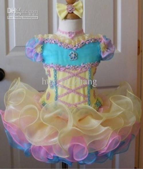 ful Little Girls Kids Cupcake Pageant Dresses Bateau Neckline Organza Beaded And Applique Mini Dresses