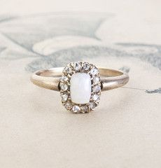 Late Victorian Opal and Diamond Rectangular Cluster Ring