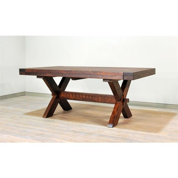 Ruff Sawn Buxton X Leg Dining Table ($1,898) ❤ liked on Polyvore featuring home, furniture, tables, dining tables, handcrafted furniture, extension table, extendable kitchen table, hand made furniture and square extension dining table