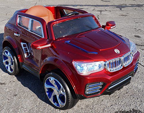 2015 luxury edition bmw suv style leather seat lights power wheels with remote control ride on electric car for kids red real paint