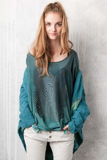 Top with back shirring. By Adéla Urbanová Fancy and colorful designed story. Handmade coloured, dyed and printed items.