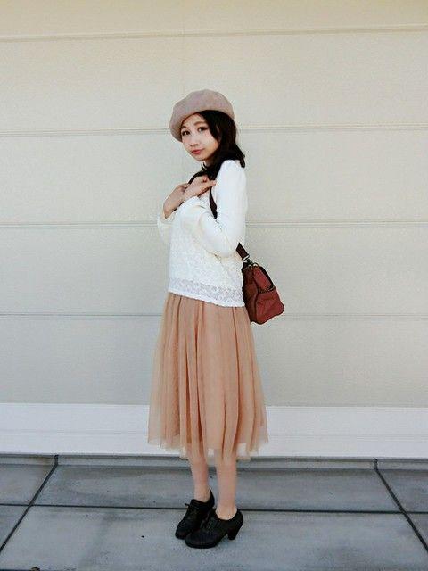 ベレー帽とふんわりチュールスカート♡ ふんわり系タイプのファッション スタイルのコーデ参考アイデア集♪