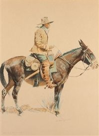 Frederic Remington, A Bunch of Buckskins: An Army Tracker Dimensions: 20 X 14.5 in (50.8 X 36.83 cm) Medium: Chromolithograph Creation Date: 1901 Signed