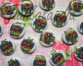 Painted Wood buttons 18mm- Printed Wood Buttons 6 pcs- Round Owl Button- Natural Wood