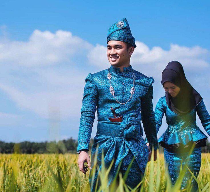 shades of blue songket  malay wedding