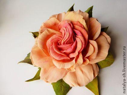 """Роза из фоамирана """"Восторг"""" - оранжевый,розовый,роза ручной работы,роза из фоамирана"""