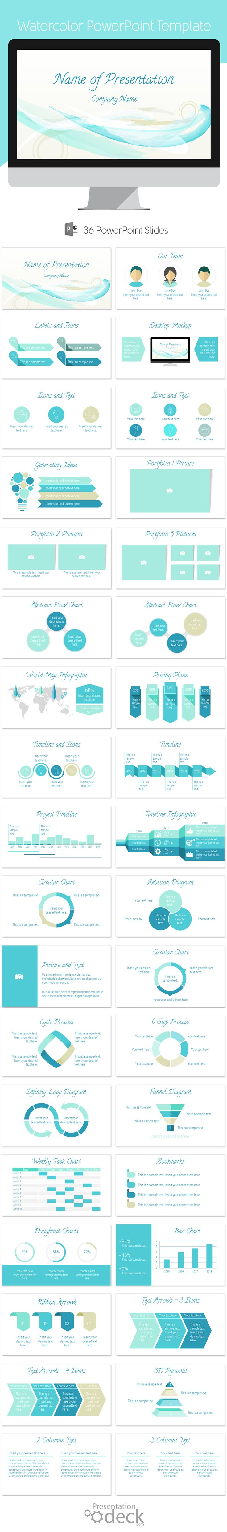 Abstract Watercolor PowerPoint template with 36 pre-designed slides. This template is multipurpose and can be used with any presentation topics. #powerpoint #powerpoint_templates #watercolor #presentations