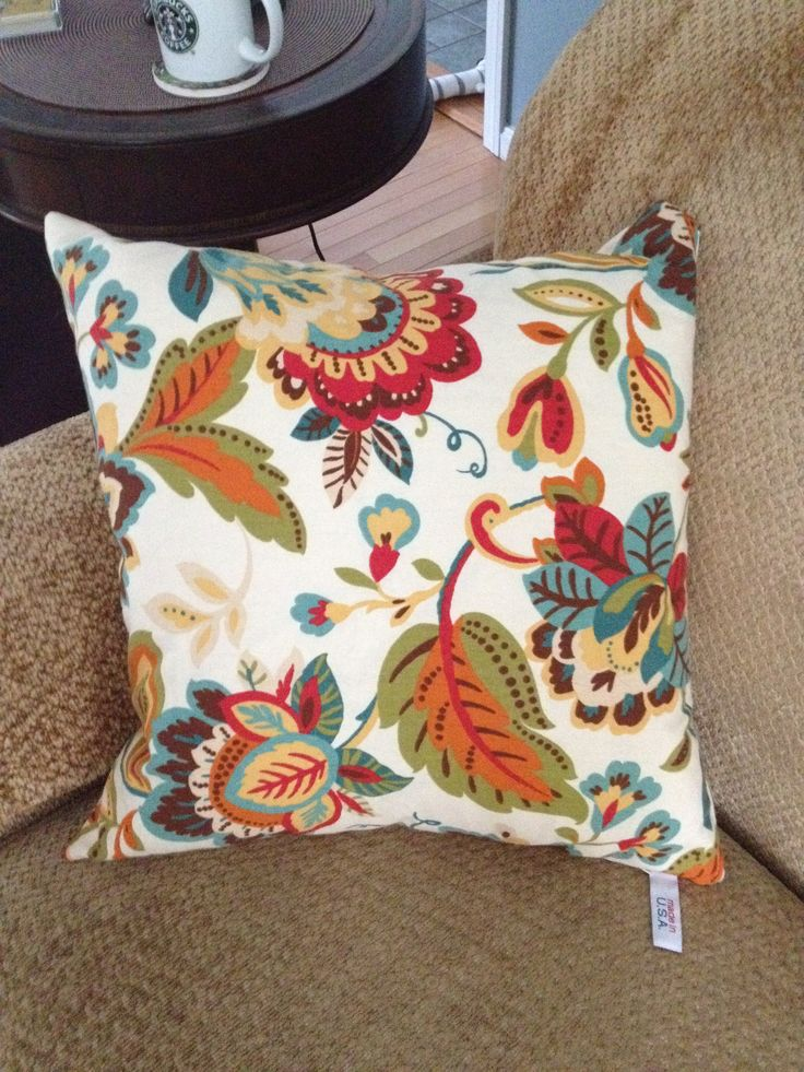 Newport Throw Pillows Birds : Newport Brand decorative pillow, made in the USA in a 70 s Jacobean print, for four seasons sofa ...
