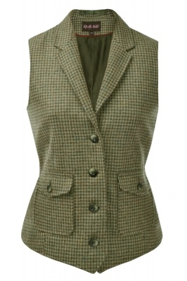 Tweed Fitted Waistcoat in Ivy - lose the lapels and make neckline (front & back) lower so it's not too warm, add several practical pockets