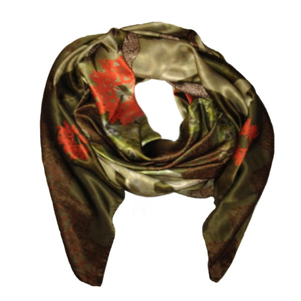 Norse Green Silk Scarf by Rags