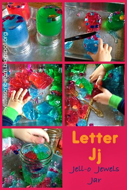 My Little Sonbeam: November Week 3&4 Alphabet letter j activity: sensory tub- Jj is for jello jewels and jar. Fun easy hands on learning! {homeschool preschool learning activities}