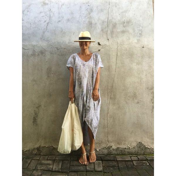 Stylish Boho Maxi Dress (670 CZK) ❤ liked on Polyvore featuring dresses, blue, women's clothing, boho dresses, tall maxi dresses, brown maxi dress, loose maxi dress and blue dress
