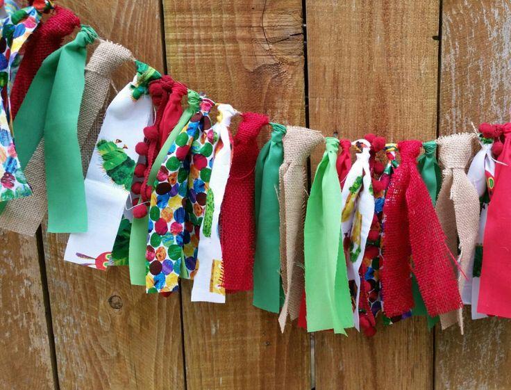 The Hungry Caterpillar fabric garland! High chair banner, hungry caterpillar nursery, hungry caterpillar shower