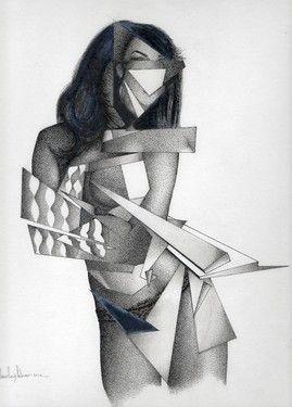 "Saatchi Online Artist daniel levy; Drawing, ""woman whit hair fragmented"" #art"