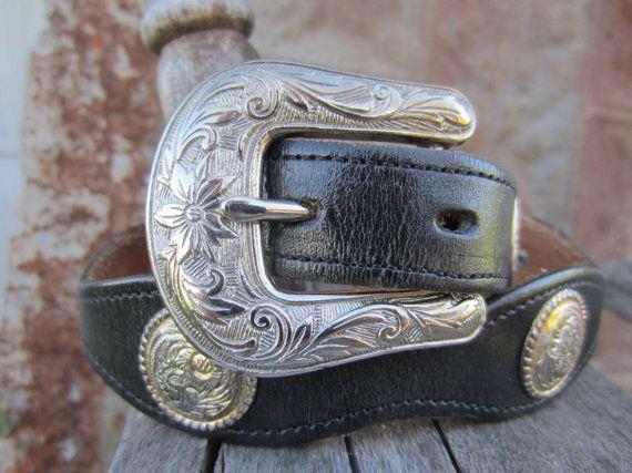 Vintage Dun Dee Black Western Concho Belt, 26-30 in, 65-76 cm // Vintage Cowgirl Belt