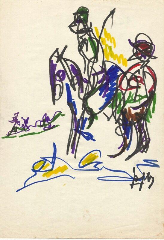 Pier Feddema Don Quichotte en Sancho Panza, 1967, viltstift, coll. Museum Dr8888