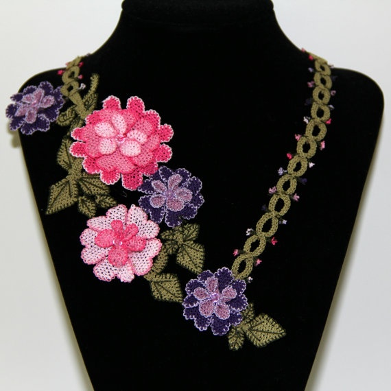 Princess Needle Lace Floral Necklace Pink by mylittlemiraclemelis, $69.50
