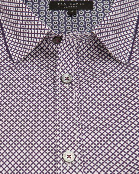 Floral geo print shirt - Purple | Printed Shirts | Ted Baker