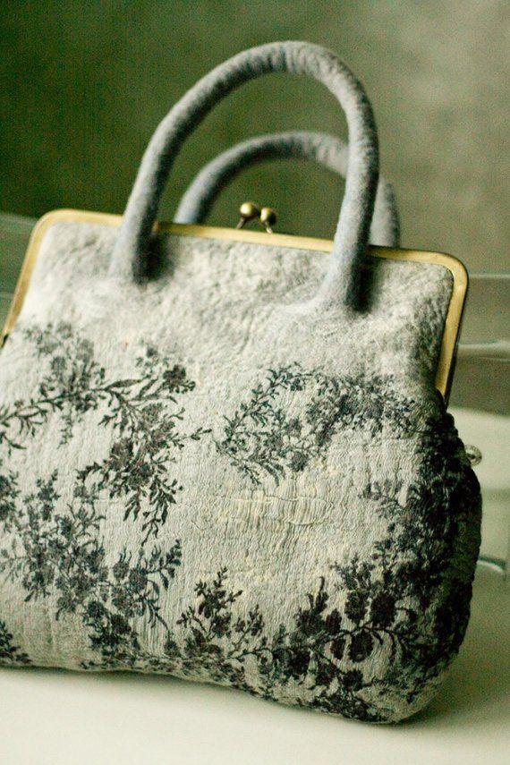 Felt wool nuno silk grey purse handbag 'Morning of by JuliaFelt
