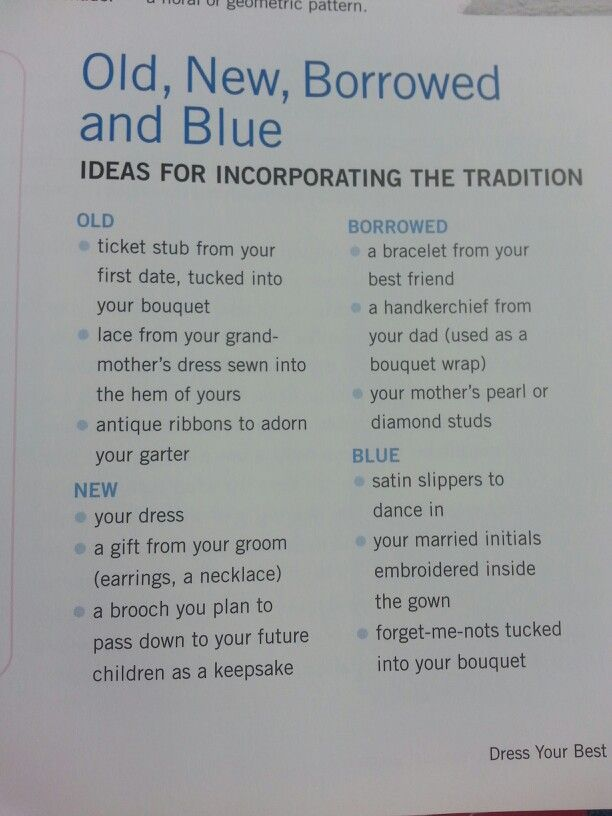 """Old, new, borrowed, & blue - the """"new"""" could be your future daughter's (or daughter-in-law-to-be) """"old"""" or """"borrowed""""."""