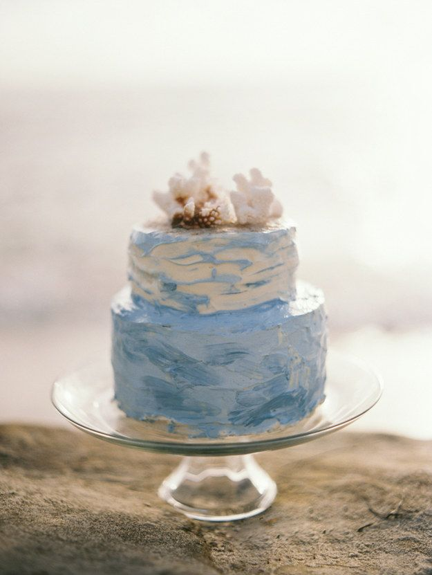 A cake with ocean-wave-like frosting.