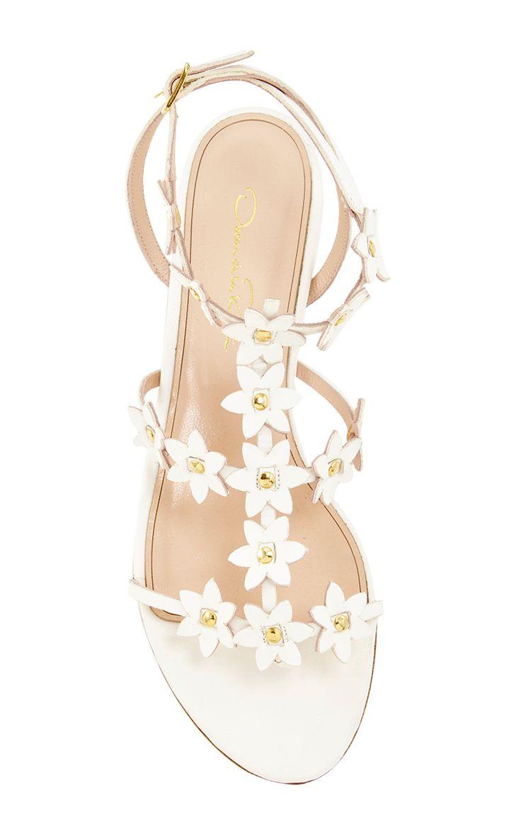 Oscar de la Renta White Vachetta Jenisa Sandals