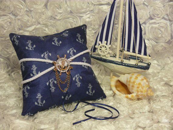 nautical ring bearer pillow / by DiAmoreDS on Etsy $30.00 & 67 best Wedding Ring Pillows by DiAmoreDS images on Pinterest ... pillowsntoast.com