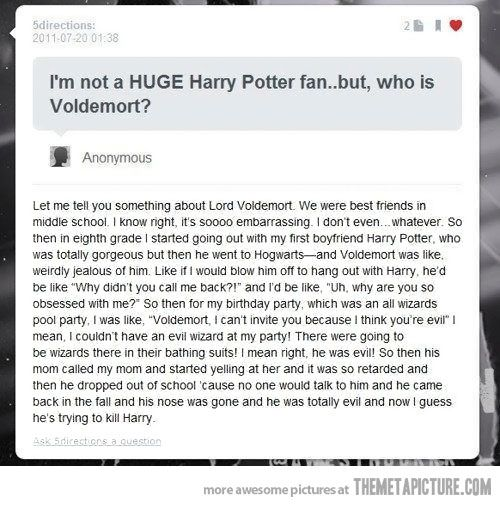 Voldemort and the Mean Girls, two of my favorite things.