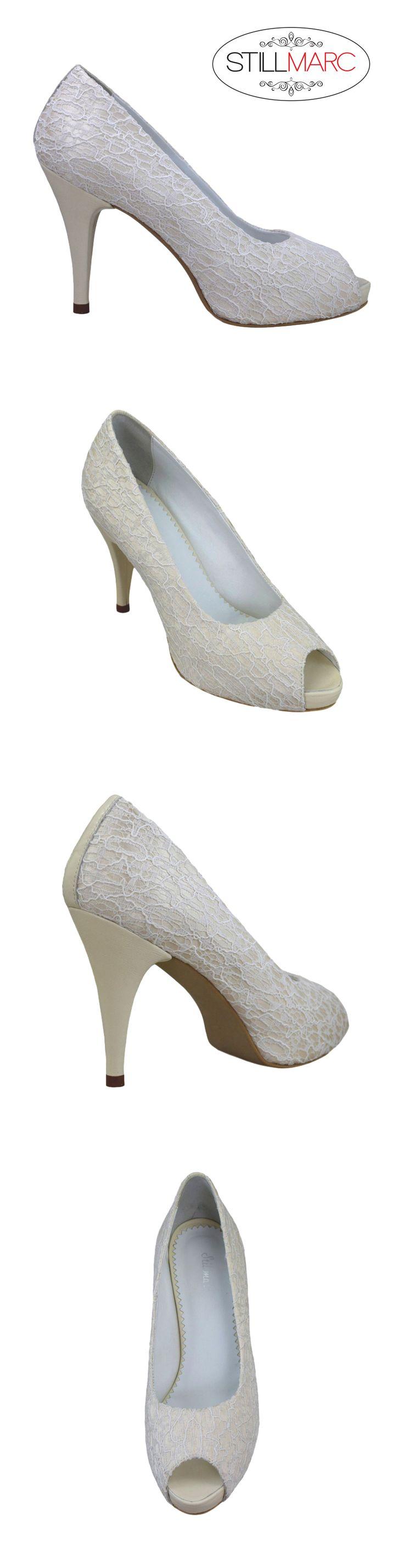 Pantofi decupati la varf, cu panza dantelata crem si platforma, cu toc de 9 cm
