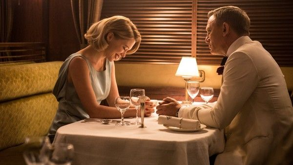 Madeleine Swann (Lea Seydoux) has dinner with James Bond (Daniel Craig) in Metro-Goldwyn-Mayer Pictures/Columbia Pictures/EON Productions' action adventure SPECTRE.